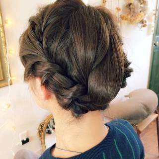 ナチュラル ボブ 編み込み 簡単ヘアアレンジ ヘアスタイルや髪型の写真・画像