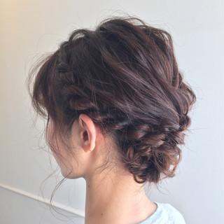 ヘアアレンジ ミディアム ショート ロープ編み ヘアスタイルや髪型の写真・画像