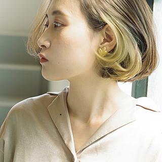 デート エレガント ボブ インナーカラー ヘアスタイルや髪型の写真・画像
