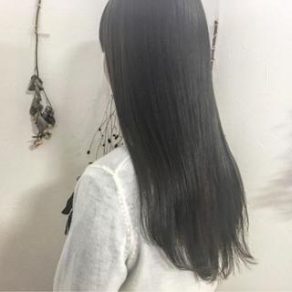 ミルクティー ナチュラル 黒髪 フリンジバング ヘアスタイルや髪型の写真・画像