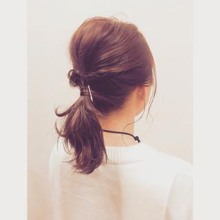 ヘアアレンジ ミディアム ストレート ポニーテール ヘアスタイルや髪型の写真・画像