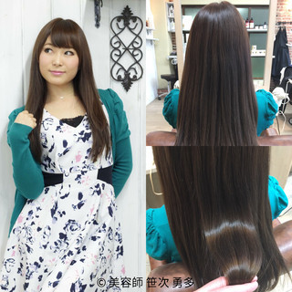 前髪あり フェミニン コンサバ ハイライト ヘアスタイルや髪型の写真・画像