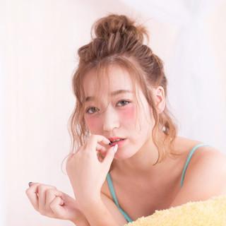 ゆるふわ ヘアアレンジ ミディアム ハーフアップ ヘアスタイルや髪型の写真・画像