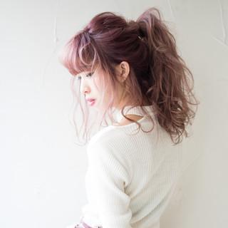 ポニーテール ピンク ヘアアレンジ 簡単ヘアアレンジ ヘアスタイルや髪型の写真・画像 ヘアスタイルや髪型の写真・画像