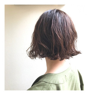 ボブ ショートヘア パーマ 春ヘア ヘアスタイルや髪型の写真・画像