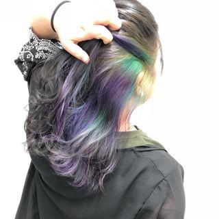 インナーカラー ガーリー セミロング 外国人風カラー ヘアスタイルや髪型の写真・画像 ヘアスタイルや髪型の写真・画像