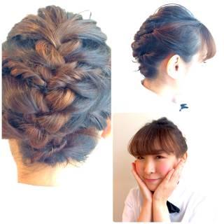 簡単ヘアアレンジ ガーリー ヘアアレンジ 編み込み ヘアスタイルや髪型の写真・画像