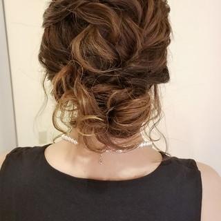エレガント ヘアアレンジ セミロング 結婚式ヘアアレンジ ヘアスタイルや髪型の写真・画像