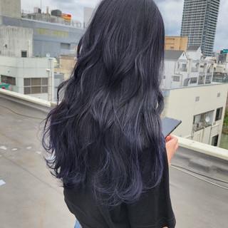 フェミニン グラデーションカラー パープルカラー 裾カラー ヘアスタイルや髪型の写真・画像