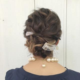 上品 結婚式 簡単ヘアアレンジ 編み込み ヘアスタイルや髪型の写真・画像