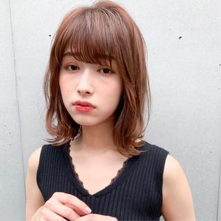 前髪なし シースルーバング ミディアム ナチュラル ヘアスタイルや髪型の写真・画像