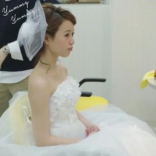 ヘアアレンジ ブライダル ウェーブ セミロング ヘアスタイルや髪型の写真・画像