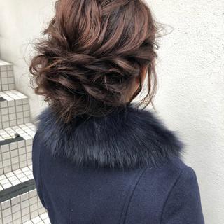 ミディアム ヘアアレンジ セルフアレンジ 結婚式ヘアアレンジ ヘアスタイルや髪型の写真・画像