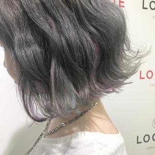 グレージュ ボブ 外国人風カラー ストリート ヘアスタイルや髪型の写真・画像