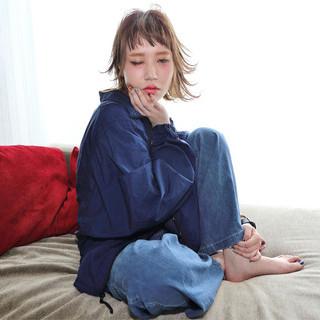 外国人風 ボブ アッシュ ガーリー ヘアスタイルや髪型の写真・画像