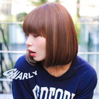 外国人風 ハイライト ボブ ストレート ヘアスタイルや髪型の写真・画像