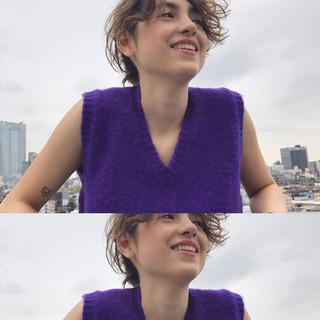 アッシュ ショート リラックス ハイライト ヘアスタイルや髪型の写真・画像