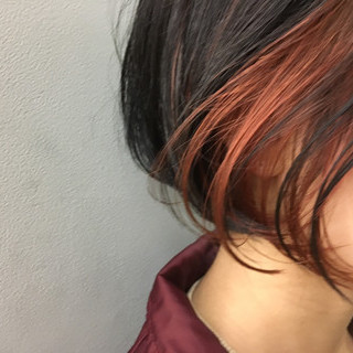 インナーカラー 抜け感 モード ボブ ヘアスタイルや髪型の写真・画像