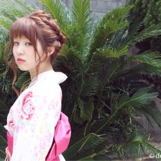 波ウェーブ セミロング 花火大会 ヘアアレンジ ヘアスタイルや髪型の写真・画像