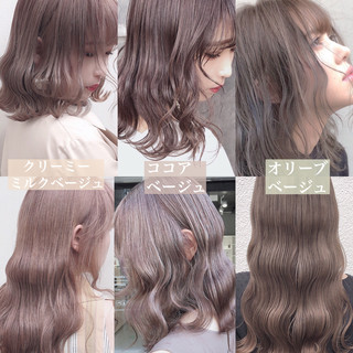 ロング ミルクティーベージュ アッシュグレージュ ナチュラル ヘアスタイルや髪型の写真・画像