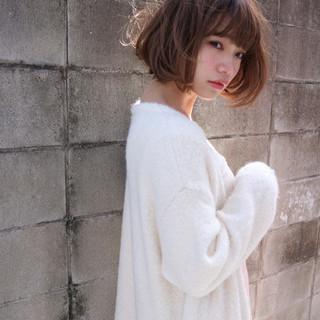 ボブ ニュアンス 大人女子 ミルクティー ヘアスタイルや髪型の写真・画像