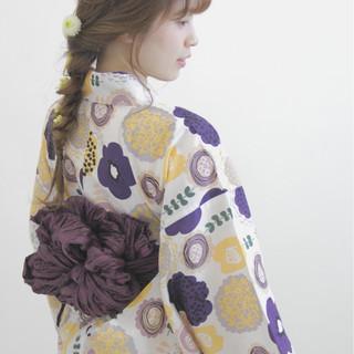 ヘアアレンジ 和装 編み込み セミロング ヘアスタイルや髪型の写真・画像