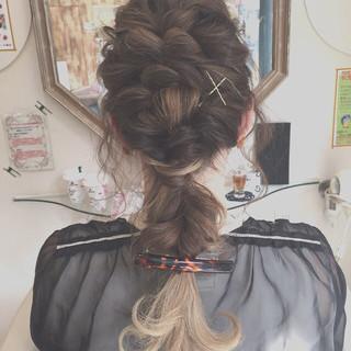 グラデーションカラー セミロング 結婚式 ブリーチ ヘアスタイルや髪型の写真・画像