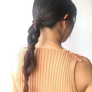 ナチュラル ロング 三つ編み 簡単ヘアアレンジ ヘアスタイルや髪型の写真・画像