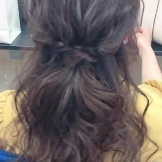 卒業式 結婚式 セミロング フェミニン ヘアスタイルや髪型の写真・画像