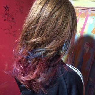 モード グラデーションカラー セミロング ピンク ヘアスタイルや髪型の写真・画像