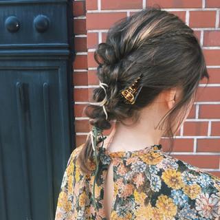 くるりんぱ 編み込み 簡単ヘアアレンジ ショート ヘアスタイルや髪型の写真・画像