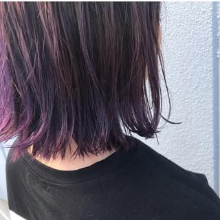 紫 可愛い ボブ お洒落 ヘアスタイルや髪型の写真・画像