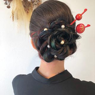 カラフルカラー 結婚式 着物 ヘアアレンジ ヘアスタイルや髪型の写真・画像
