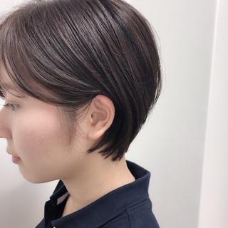 暗髪 ショート ハンサムショート ショートボブ ヘアスタイルや髪型の写真・画像