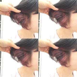 ショートボブ アッシュ ピンク 外国人風 ヘアスタイルや髪型の写真・画像