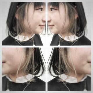グレージュ インナーカラー ヘアアレンジ ボブ ヘアスタイルや髪型の写真・画像
