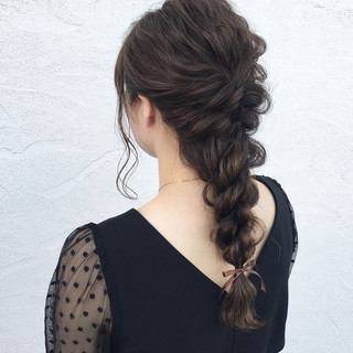 ナチュラル ヘアアレンジ 編み込み ロング ヘアスタイルや髪型の写真・画像