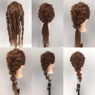 ヘアアレンジ ロング 夏 ロープ編み ヘアスタイルや髪型の写真・画像