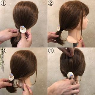 ナチュラル ポニーテール ヘアアレンジ ミディアム ヘアスタイルや髪型の写真・画像