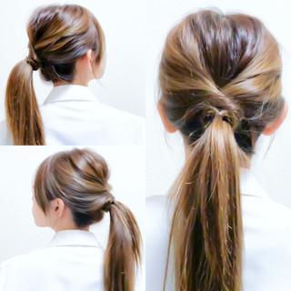 フェミニン セルフヘアアレンジ ヘアアレンジ オフィス ヘアスタイルや髪型の写真・画像 ヘアスタイルや髪型の写真・画像