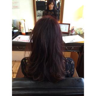 マルサラ ガーリー セミロング ハイライト ヘアスタイルや髪型の写真・画像