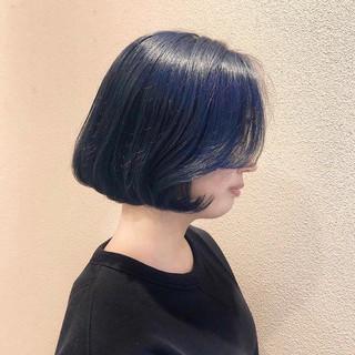 ブルー フェミニン ブルーブラック 韓国ヘア ヘアスタイルや髪型の写真・画像