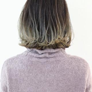 グラデーションカラー バレイヤージュ ボブ アッシュ ヘアスタイルや髪型の写真・画像 ヘアスタイルや髪型の写真・画像