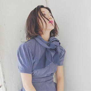 アンニュイ おフェロ ボブ ナチュラル ヘアスタイルや髪型の写真・画像