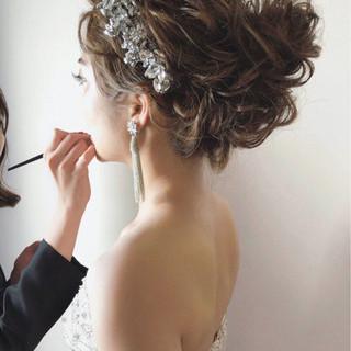 セミロング エレガント ヘアアレンジ 大人女子 ヘアスタイルや髪型の写真・画像