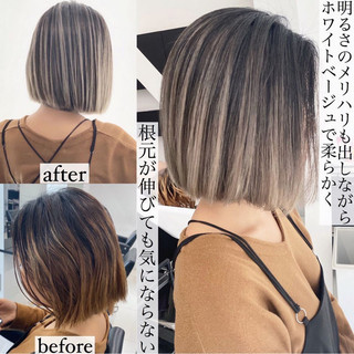 エアータッチ ベージュ グラデーションカラー ホワイトベージュ ヘアスタイルや髪型の写真・画像