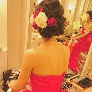 結婚式 ゆるふわ ヘアアレンジ ロング ヘアスタイルや髪型の写真・画像