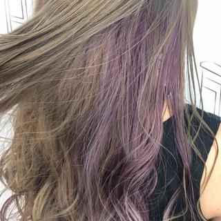 ガーリー ピンク セミロング インナーカラー ヘアスタイルや髪型の写真・画像