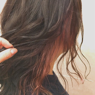 グレージュ 大人かわいい ピンク インナーカラー ヘアスタイルや髪型の写真・画像