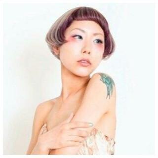 マニッシュ ショート ラベンダー インナーカラー ヘアスタイルや髪型の写真・画像 ヘアスタイルや髪型の写真・画像